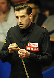 Mark Selby during his match against Xiao Guodong on day eight of the Betfred Snooker World Championships at the Crucible Theatre, Sheffield.