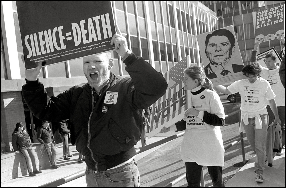 """ACT UP """"SEIZE CONTROL OF THE FDA"""" action at the Food and Drug Administration Headquarters in Rockville, Maryland on October 11, 1988"""