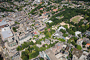 Nederland, Drenthe, Emmen, 27-08-2013; <br /> Centrum van Emmen met Grote of Sint-Pancratiuskerk.  Rechts dierenpark Emme. (v/h Noorder dierenpark.<br /> Center of Emmen (northern Netherlands). Right the Zoo of Emmen.<br /> luchtfoto (toeslag op standaard tarieven);<br /> aerial photo (additional fee required);<br /> copyright foto/photo Siebe Swart.