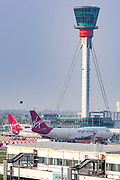 Three Virgin Atlantic planes are seen parked at London Heathrow airport on Wednesday, April 8, 2020. In the midst of March, UK airline bosses called for an immediate multibillion-pound emergency bailout to prevent the industry from potentially being wiped out by the coronavirus pandemic. Virgin Atlantic Airways' demanded an immediate financial aid of between £5bn and £7.5bn British media reported. (Photo/Vudi Xhymshiti)