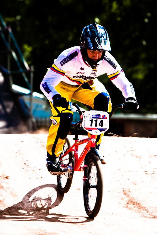 Augusto Castro Herrera (COL) during the practice round of the UCI BMX Supercross World Cup, Pietermaritzburg, 2011