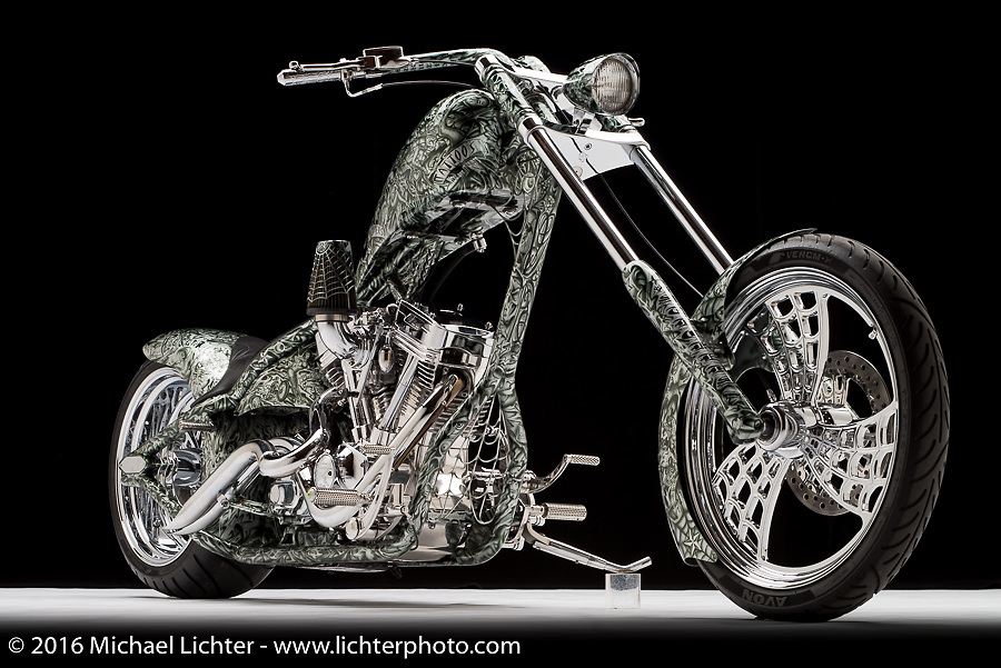 A tattoo themed custom evo built by Rick Fairless of Strokers in Dallas, TX. Photographed by Michael Lichter in Sturgis, SD on July 31, 2016. ©2016 Michael Lichter.