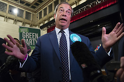 May 27, 2019, London, UK: British Brexit party leader Nigel Farage speaks to the media at the O2 Guildhall venue after being re-elected at a Member of the European Parliament. The Brexit Party is expected to do very well in the elections. (Credit Image: © Ray Tang/London News Pictures via ZUMA Wire)