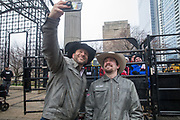Professional Bull Riders Matt West and Matt Triplett pose for a selfie during a presentation with 2020 Professional Bull Riding (PBR) Tour and Special Olympics Illinois (SOILL) in Chicago, Friday, Jan. 10, 2020, in Chicago in Maggie Daley Park. (Max Siker/Image of Sport via AP)