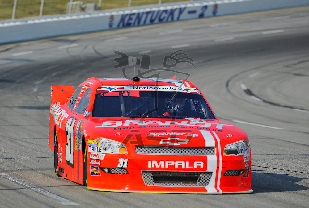 Sparta, KY - JUN 29, 2012: Justin Allgaier (31) during the final practice for the Feed the Children 300 at the Kentucky Speedway in Sparta, KY.