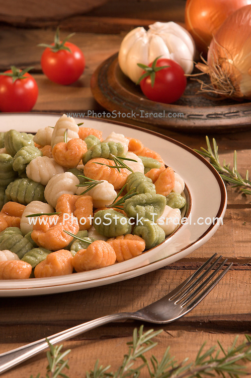 Plate of colourful  gnocchi