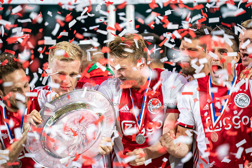 15-05-2019 NED: De Graafschap - Ajax, Doetinchem<br /> Round 34 / It wasn't really exciting anymore, but after the match against De Graafschap (1-4) it is official: Ajax is champion of the Netherlands / Daley Blind #17 of Ajax, Donny van de Beek #6 of Ajax, Matthijs de Ligt #4 of Ajax, Dusan Tadic #10 of Ajax