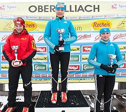 11.12.2010, Biathlonzentrum, Obertilliach, AUT, Biathlon Austriacup, Sprint Men, im Bild Podium Jugend II v.l. Christina Rieder (AUT, #52) Platz 2, Julij Briginec (UKR, #35) Platz 1 und Irina Varvynets (UKR, #37) Platz 3. EXPA Pictures © 2010, PhotoCredit: EXPA/ J. Groder