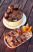 Laos, Vientiane. Traditional Food at Kong View restaurant.