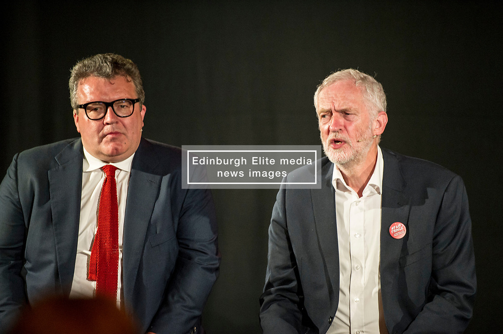 Pictured: Tom Watson and Jeremy Corbyn<br /> <br /> Jeremy Corbyn, leader of the Labour Party, and Tom Watson MP, shadow secretary of state for culture, media and sport, headed to the Lower Hall New Town Theatre to meet creative workers at the Edinburgh Fringe today.<br /> 27 August 2017