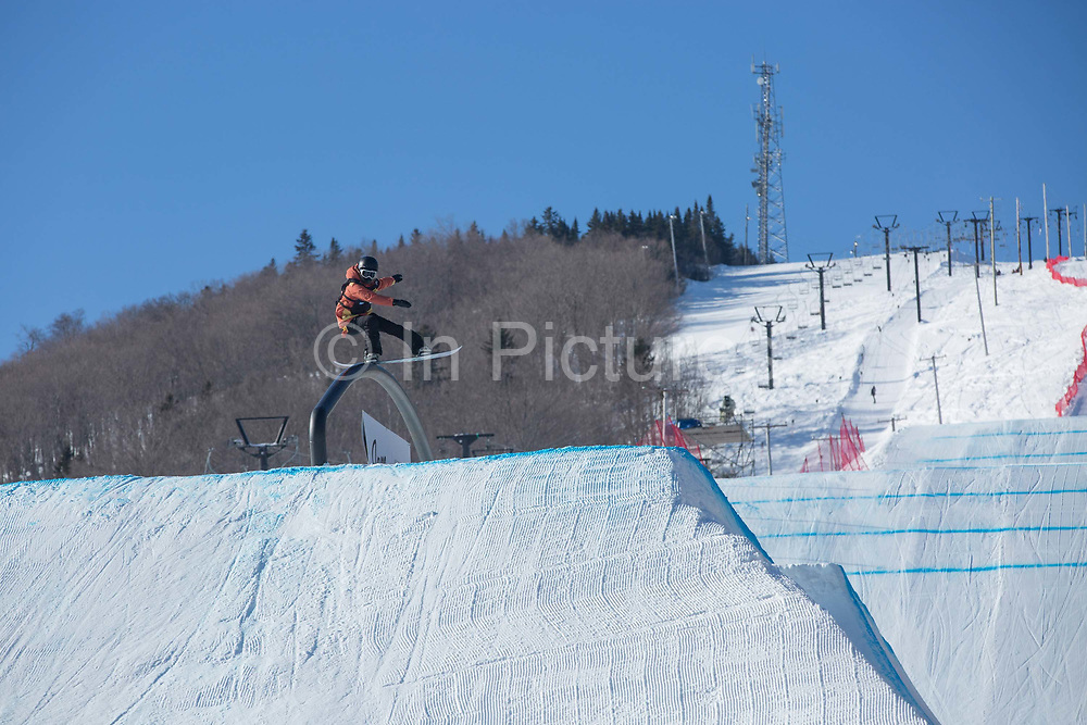 Yuka Fujimori during the FIS Jamboree snowboard Slopestyle Semi Finals on 10th February 2017 in Stoneham Mountain, Canada. The Canadian Jamboree is part of the ski and snowboard FIS World Cup circuit held in Quebec City and Stoneham Mountain.