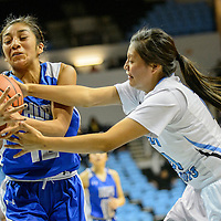 020415  Adron Gardner/Independent<br /> <br /> Hopi Bruin Jennaya Day (12), left, tries to hold off Window Rock Scout LaTanya Dodson (20) at the Fighting Scout Event Center in Fort Defiance Wednesday.