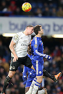 Phil Jagielka, the Everton captain and Oscar of Chelsea attempts to head the ball. Barclays Premier league match, Chelsea v Everton at Stamford Bridge in London on Saturday 16th January 2016.<br /> pic by John Patrick Fletcher, Andrew Orchard sports photography.