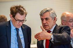 Pictured: Gordon Brown prepares to make his speech.<br /><br />Gordon Brown addressed thenew Scottish think tank seminar today.  He was joined by Shadow Scottish secretary Lesley Laird and Scottish Labour leader Richard Leonard who also spoke at the inaugural meeting of Our Scottish Future<br /><br />Ger Harley   EEm 30 August 2019