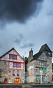 Stores in old houses of Treguier, Cotes d'Armor, Brittany, Bretagne, France