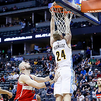 08 March 2017: Denver Nuggets center Mason Plumlee (24) goes for the reverse dunk during the Washington Wizards 123-113 victory over the Denver Nuggets, at the Pepsi Center, Denver, Colorado, USA.