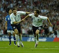 Photo: Jonathan Butler.<br /> England v Israel. UEFA European Championships Qualifying. 08/09/2007.<br /> Michael Owen of England celebrates after scoring.