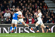 Twickenham, United Kingdom, Saturday, 9th March 2019,  England's, Joe COKANASIGA, passes the ball to,  Dan ROBSON before he is tackled the ball, during the Guinness Six Nations match, England vs Italy,  at the RFU Rugby, Stadium,© Peter Spurrier