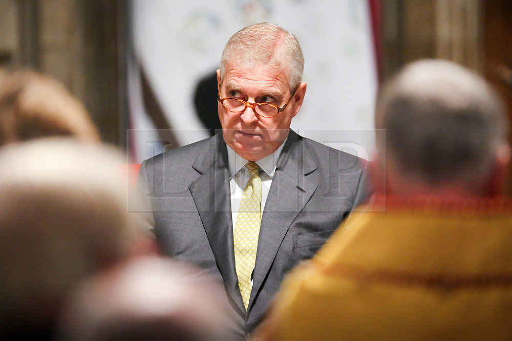 FILE IMAGE © Licensed to London News Pictures. 12/12/2019. York, UK. File picture taken 29/03/2017 HRH the Duke of York Prince Andrew at the 50th anniversary of the York Minster Fund at York Minster. Prince Andrew has resigned from his role as the Royal Patron of the York Minster fund after 15 years. The resignation comes after he stepped back from public duties last month following his appearance in a BBC Newsnight TV interview. Photo credit: Andrew McCaren/LNP