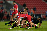 Rugby League - 2020/2021 Coral Challenge Cup - Quarter-final - Catalan Dragons vs Salford Red Devils<br /> <br /> Salford Red Devils's Luke Yatesis tackled, at the TW Stadium.<br /> <br /> COLORSPORT/TERRY DONNELLY