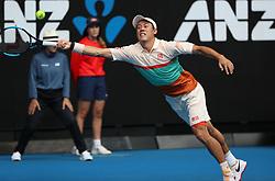 MELBOURNE, Jan. 17, 2019  Kei Nishikori of Japan competes during the men's second round match between Kei Nishikori of Japan and Ivo Karlovic of Croatia at the 2019 Australian Open in Melbourne, Australia, Jan. 17, 2019. (Credit Image: © Bai Xuefei/Xinhua via ZUMA Wire)
