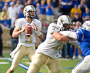 Dec 1, 2012; Tulsa, Ok, USA; University of Central Florida Knights quarterback Blake Bortles (5) looks to make a pass during a game against the Tulsa Hurricanes at Skelly Field at H.A. Chapman Stadium. Tulsa defeated UCF 33-27 in overtime to win the CUSA Championship. Mandatory Credit: Beth Hall-USA TODAY Sports