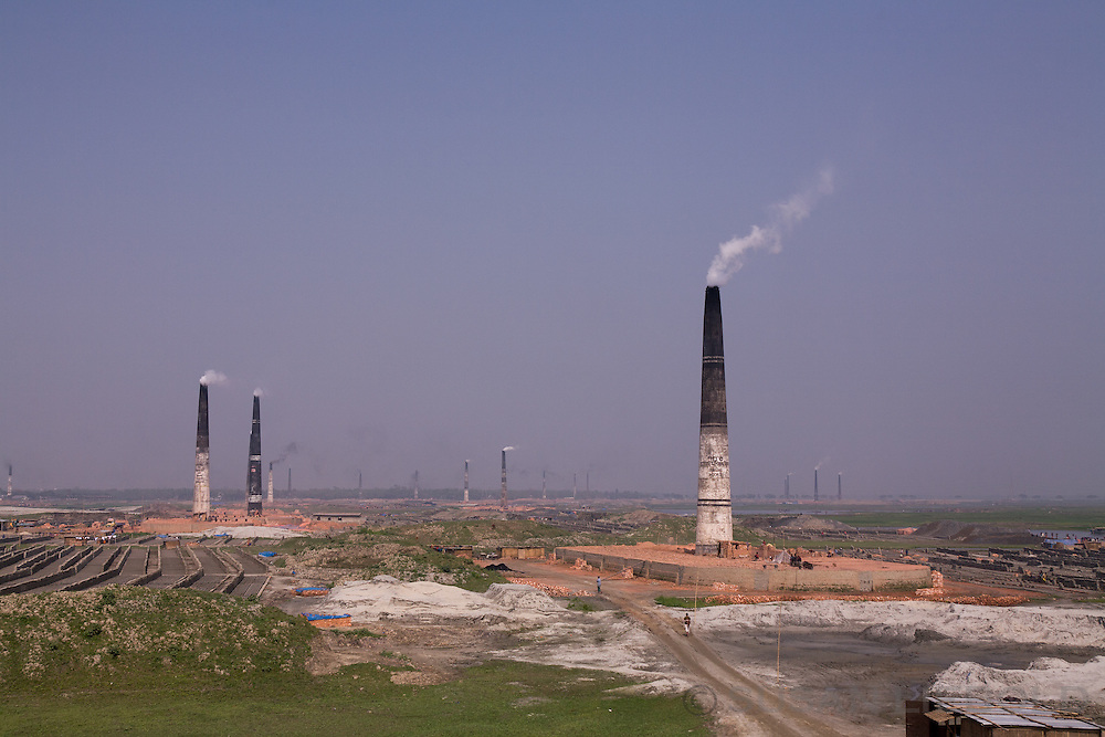 Brick making factories fill the landscape outside of Dhaka, Bangladesh.