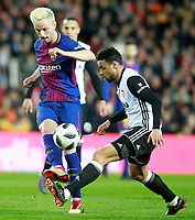 Valencia CF's Coquelin (r) and FC Barcelona's Ivan Rakitic during Spanish King's Cup Semi Final 2nd match. February 8,2018. (ALTERPHOTOS/Acero)