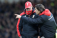Zeljko Buvac, the Liverpool Assistant Manager (r) talking to Jürgen Klopp, the Liverpool manager from the touchline. The Emirates FA cup, 4th round replay match, West Ham Utd v Liverpool at the Boleyn Ground, Upton Park  in London on Tuesday 9th February 2016.<br /> pic by John Patrick Fletcher, Andrew Orchard sports photography.