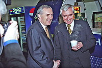 Bertie Ahern, TD, Rep of Ireland, Prime Minister (Taoiseach), with Dr Jim McDaid, Minister for Tourism, Sport and Leisure at Ard Fheis (party conference). 199811079.<br />