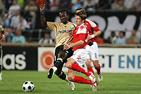 FOOTBALL - CHAMPIONS LEAGUE 2008/2009 - 3RD QUALIFYING ROUND - 2ND LEG - 080827 - OLYMPIQUE MARSEILLE v BRANN BERGEN -  MAMADOU NIANG (OM) / OLAFUR BJARNASSON (BER) <br /> <br /> Norway only