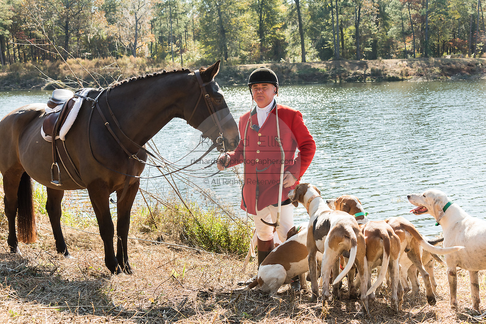 Riders gather for the Blessing of the Hounds marking the start of the Fox Hunting season at Middleton Place Plantation November 27, 2016 in Charleston, SC. Fox hunting in Charleston is a drag hunt using a scented cloth to simulate a fox and no animals are injured.
