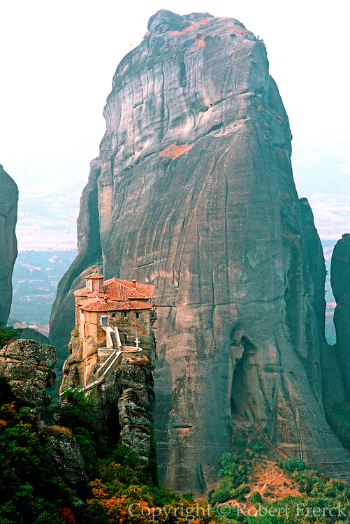 GREECE, HISTORIC SITES Meteora; Rousanou Monastery, a medieval monastic community built for protection on sheer rock formations in 1545