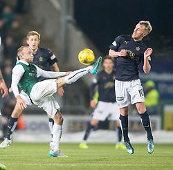 Hibernian's Dylan McGeouch and Falkirk's Craig Sibbald. <br /> Falkirk 1 v 1 Hibernian, Scottish Championship game played 17/1/2015 at The Falkirk Stadium.