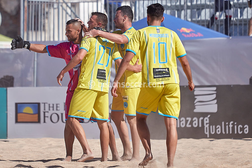 NAZARE, PORTUGAL - MAY 31: Players of Napoli Patron BSC during the Euro Winners Challenge Nazaré 2019 at Nazaré Beach on May 31, 2019 in Nazaré, Portugal. (Photo by Jose M. Alvarez)