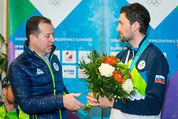 Enzo Smrekar and Jakov Fak during Arrival of Jakov Fak, Silver medalist at Olympic Games in Pyeongchang 2018, on February 25, 2018 in Aerodrom Ljubljana, Letalisce Jozeta Pucnika, Kranj, Slovenia. Photo by Ziga Zupan / Sportida