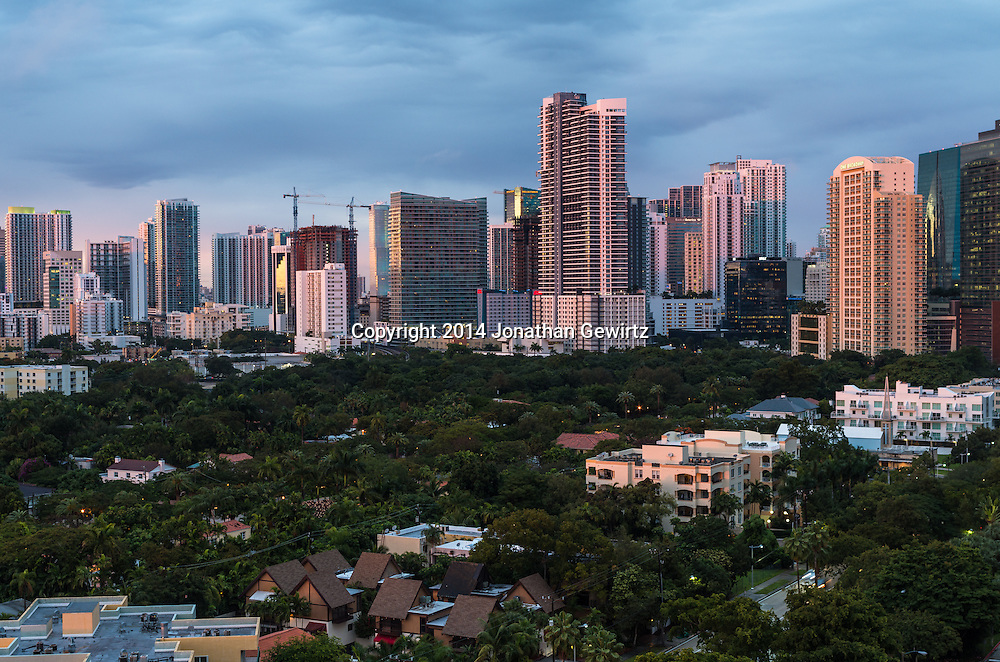 View from the South of downtown Miami, Florida office and residential buildings.<br /> WATERMARKS WILL NOT APPEAR ON PRINTS OR LICENSED IMAGES.
