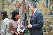 King Felipe VI of Spain, Ana Patricia Botin attends the delivery of Accreditation of the 7th edition of 'Honorary Ambassadors of the Spain Brand' at El Pardo Royal Palace on March 3, 2020 in Madrid, Spain