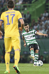 October 31, 2017 - Lisbon, Portugal - Sporting's midfielder Bruno Fernandes (R) shoots the ball during the Champions League  football match between Sporting CP and Juventus FC at Jose Alvalade  Stadium in Lisbon on October 31, 2017. (Credit Image: © Carlos Costa/NurPhoto via ZUMA Press)