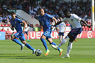 Arvin Appiah of England shoots for goal during the UEFA European Under 17 Championship 2018 match between England and Italy at the Banks's Stadium, Walsall, England on 7 May 2018. Picture by Mick Haynes.