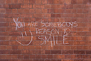 You are somebodys reason to smile chalk graffiti on 30th March 2021 in Birmingham, United Kingdom.