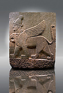 Picture & image of a Neo-Hittite orthostat describing the legend of Gilgamesh from Karkamis,, Turkey. Museum of Anatolian Civilisations, Ankara. A three headed Sphinx which is a winged lion with a human heas and a bird of prey's head on the end of its tail 5