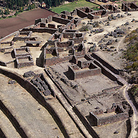 View on the ancient military citadel Q'allaqasa in Pisac, a well-known village in the Sacred Valley.