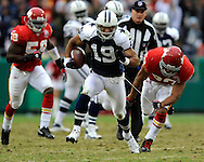 October 11, 2009:  Wide receiver Miles Austin #19 of the Dallas Cowboys brakes away from safety Mike Brown #30 of the Kansas City Chiefs for a 59-yard touchdown in the second half at Arrowhead Stadium in Kansas City, Missouri.  The Cowboys defeated the Chiefs in overtime 26-20...