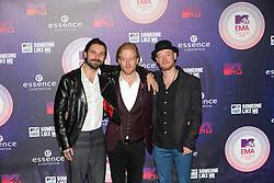 Simon Neil, Ben Johnston and James Johnston of Biffy Clyro.<br /> Red carpet at the MTV EMA, Glasgow.