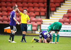 Ayr United's Jamie Adams injured. <br /> Dunfermline 3 v 2 Ayr United, Scottish League One played at East End Park, 13/2/2016.