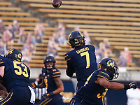 Dec 5, 2020; Berkeley, California, USA; California Golden Bears quarterback Chase Garbers (7) throws the ball to wide receiver Kekoa Crawford (11) against the Oregon Ducks during the first quarter at California Memorial Stadium. Mandatory Credit: Kelley L Cox-USA TODAY Sports