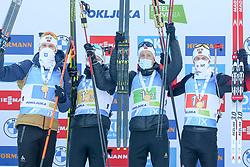 Team Norway: Laegreid Sturla Holm, Boe Tarjei, Boe Johannes Thingnes, Christiansen Vetle Sjaastad celebrate during the IBU World Championships Biathlon 4x7,5km Relay Men competition on February 20, 2021 in Pokljuka, Slovenia. Photo by Vid Ponikvar / Sportida