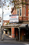 Lygon Street, once the heart of Melbourne's restaurant scene stands empty, littered with For Lease signs as cafes and restaurants close forever during COVID-19. A further 238 Coronavirus cases have been discovered overnight, bringing Victoria's active cases to over 2000, speculation is rising that almost all of Victoria's current cases stem from the Andrews Government botched hotel quarantine scheme as well as the Black Lives Matter protest.  Premier Daniel Andrews warns that Victoria may go to Stage 4 lockdown if these high numbers continue. (Photo be Dave Hewison/ Speed Media)