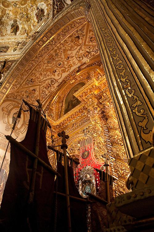 North America, Mexico, Oaxaca Province, Oaxaca,silk banners and crosses in  Iglesia y Ex-convento de Santo Domingo on All Saints Day